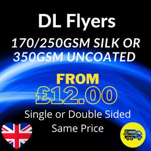 DL Flyers Leaflets Printed Colour 170gsm 250gsm Silk  350gsm - DL Flyer Printing