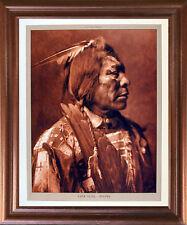Lone Flag - Atsina Native American Mahogany Framed Wall Decor Picture Art 18x22