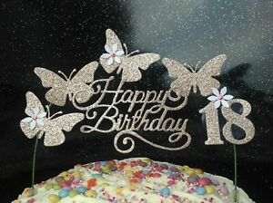 Rose Gold Birthday Cake topper Decoration Glitter Butterfly party  Birthday CARD