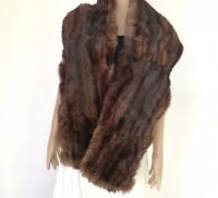 TRUE VINTAGE GENUINE FUR STOLE CAPE WRAP SATIN LINED