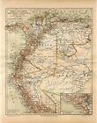 1895+PERU+ECUADOR+COLOMBIA+VENEZUELA+Antique+Map
