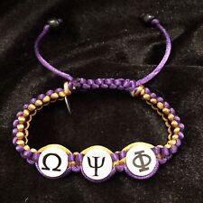 Divine Nine Inspired Omega Shamballa Styled Classic Bracelet-Purple And Gold