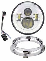 TRUCKMALL 7 inch LED Headlight with Bracket Mounting Ring for Harley Davidson