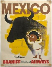 Original Vintage Poster MEXICO BRANIFF INTERNATIONAL AIRWAYS Airline Travel Bull