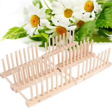 1pc Wooden Dish Rack Drainer Plate Stand Holder Kitchen Tool Storage Drying Rack