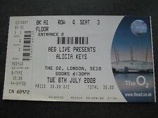 ALICIA KEYS  O2 LONDON  08/07/2008 TICKET