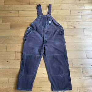 VTG Carhartt Purple Distressed Double Knee Duck Canvas Bib Overalls Size 48 X 28