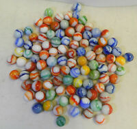 #12233m Vintage Group or Bulk Lot of 100 Peltier Glass Marbles .59 to .63 Inches