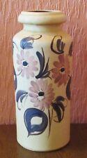 """West German Scheurich 12"""" Matt-glazed Vase with Modernist Floral Clusters."""