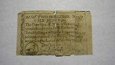 1771 Two Shillings Six Pence North Carolina NC Colonial Currency Note Bill! RARE