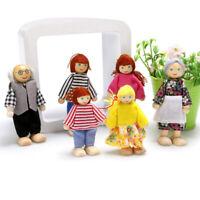 6 Personen Puppen Falimilien Holz & Stoff Biegepuppen für Puppenhaus Spielzeug ❤