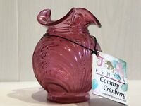 Vintage Fenton Glass Country Cranberry Glass Posy Vase With Original Label