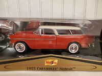 Maisto 1955 Chevy Nomad Bel Air Station Wagon 1:18 Scale Diecast Model Car Red