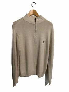 Chaps Jumper Cotton Knit White Mens Large Long Sleeve Pullover
