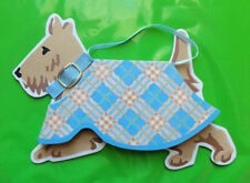 Lady Jayne Dog Gone Vogue Tan Scottish Terrier Blue Collar Plaid Coat Note Pad