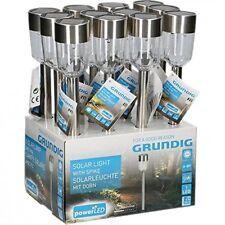 12 Lampade giardino LED Ricarica Solare Ip44 acciaio inossidabile 36cm Grundig