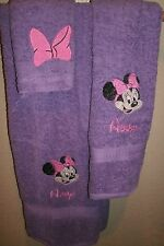Minnie Mouse Head Big Bow Personalized 3 Piece Bath Towel Set Your Color Choice