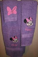 Minnie Mouse Head Big Bow Personalized 3 Piece Bath Towel Set Your Color Choice