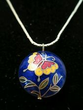 "Small BUTTERFLY CLOISONNE PENDANT necklace Goldtone chain 18"" round vintage blue"