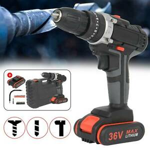 36V 2Speed Cordless Combi impact Electric Drill Screwdriver & CASE 2x Batteries