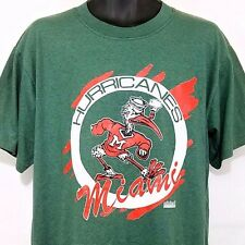 Miami Hurricanes T Shirt Vtg 90s Striped Made In USA Mens Large Dead Stock NWT