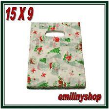 lot 50 pochette sac sachet plastique fantaisie 15x9 pere noel cadeaux,bijoux