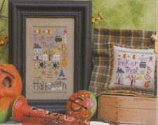 LIZZIE KATE CROSS STITCH HALLOWEEN SAMPLER AND CHARMS