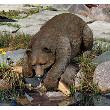 Black Bear Fisherman Sculpture Garden Pond Statue Wildlife