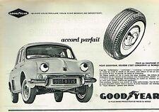 K- Publicité Advertising 1962 Les Pneus Goodyear Flancs Blanc Renault Dauphine