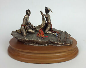 SMOKE SIGNAL inspired by FREDERICK REMINGTON CHILMARK FINE PEWTER SCULPTURE