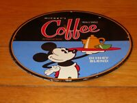 """VINTAGE 1940 MICKEY MOUSE COFFEE 11 3/4"""" PORCELAIN METAL SODA, GASOLINE OIL SIGN"""