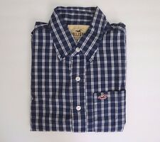 Hollister Mens Size Small Plaid Button Down Shirt Blue & White Long Sleeve