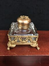 ANTIQUE 19C FRENCH CRYSTAL AND BRONZE INKWELL