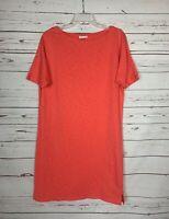 J.Jill Women's Sz S Small Coral Short Sleeve Soft Knit Spring Summer Shirt Dress