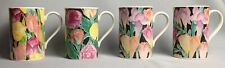 Dunoon Ashbourne Lot Four Mugs Christine Chadwick Purple Yellow Peach Flowers