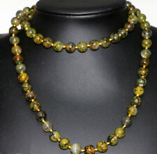 """Natural 10mm yellow dragon veins agate round beads long chain necklace 36"""" JN967"""