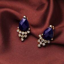 NEW Forever 21 Elegant Blue Stone Rhinestones Antique Gold Ear Jacket Earrings