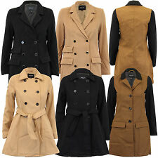 new ladies jacket Brave Soul womens coats wool mix double breasted lined winter