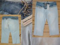 Take Two Jeans Girl ¾ Bein Capri Sattel Rüsche Schnürung Streifen blue denim 28