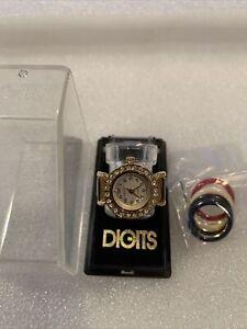 Vintage Bonetto 1987 Womens Digits Quartz Crystal Finger Ring Watch w box