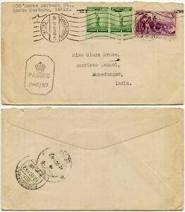 USA to INDIA WW2 CENSORED DHC37..SANTA BARBARA MACHINE..AMERICAN SCHOOL 1942