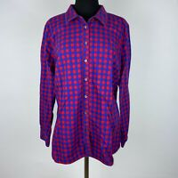 Talbots Womens XL Multicolor Plaid Collared Cotton Button Down Shirt Long Sleeve