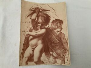 Antique Red  Stipple Engraving Print After Cipriani 2 Putti