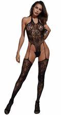 Sexy Lingerie Women Halter Floral Fishnet Bodysuit Full Body Stocking Suspenders