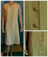 St John Collection Knits Yellow Dress L 10 12 Sleeveles Sheath Buttons Pockets