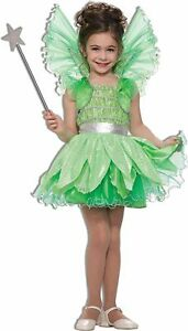 Deluxe Fairy Princess Green Sprite Costume Glitter Dress Girls Large 12-14