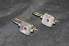 SILPADA - W0507 - Square Sterling Silver Garnet Stone Earrings - RARE! HTF!