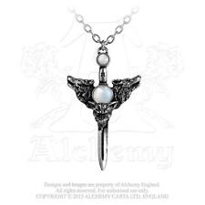 Wolf Moon Necklace Alchemy Gothic Guardian Wolves Pendant with Moonstone Sword