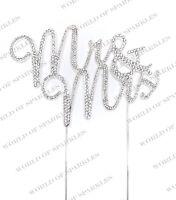 Fancy MR & MRS WEDDING Diamante Rhinestone Gem Cake Topper Silver UK