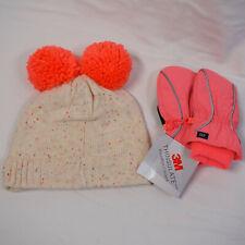 NEW Gap Girls Winter Poof Hat Mittens pink, orange Toddler Fleece M/L Thinsulate